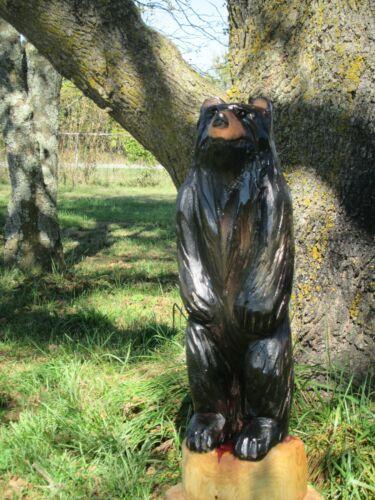 Bear Cub Totem Chainsaw Carving Decor Totem Pole Ozark Red Cedar Wood