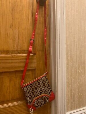 Fendi Mocha Brown And Red Canvas Leather Messenger Bag Purse Crossbody