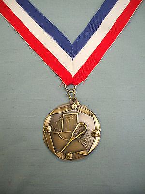 male lacrosse gold medal trophy wide patriotic neck drape
