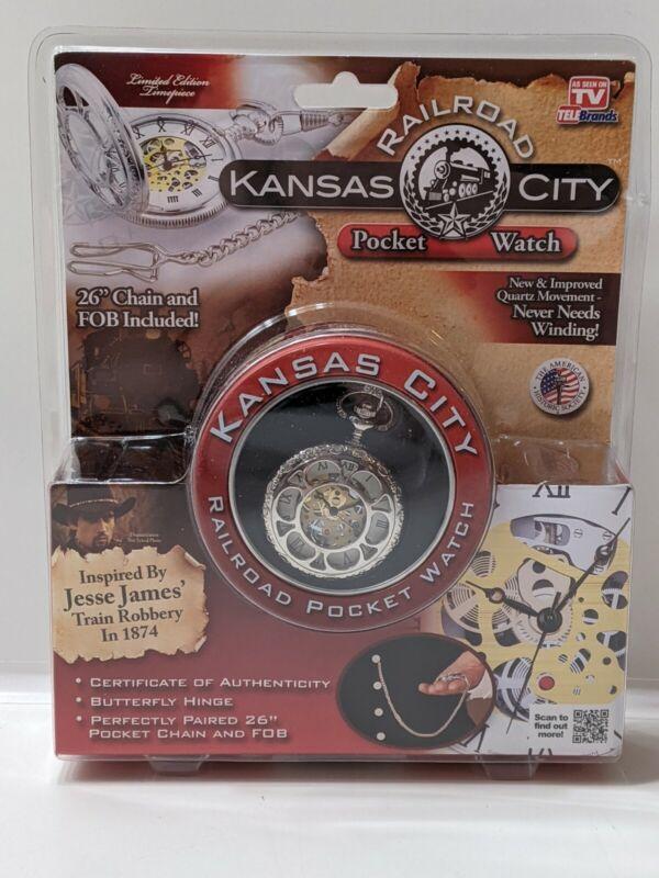 "New TeleBrands Kansas City Railroad Pocket Watch 26"" Chain - As seen on TV"