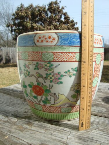 Old Chinese Famille Rose Planter Bird Tree Rock Garden Early 20th C
