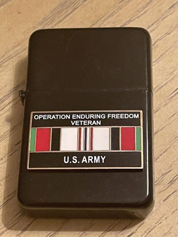 Star Black Matte Lighter Military Army Operation Enduring Freedom Veteran