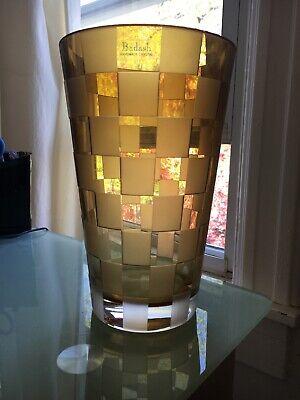 Badash Amber Yellow Brown Crystal Art Glass Frost Brick Flower Vase w/ Sticker