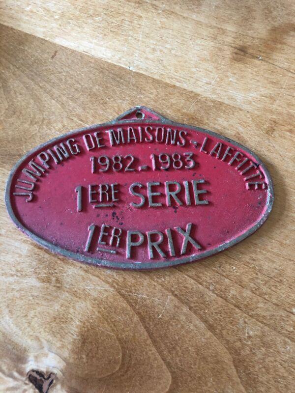 """Vintage French Equestrian Plaque,""""JUMPING DE MAISONS LAFITTE,1982-1983"""""""