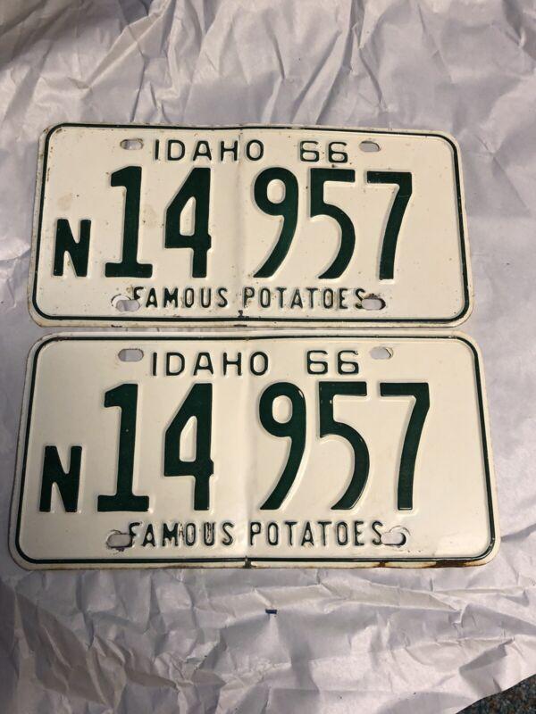 Idaho 1966 License Plate Pair