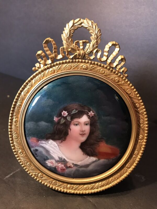 Antique French Enamel On Copper Miniature In Bronze Frame/ Signed/ France C.1900
