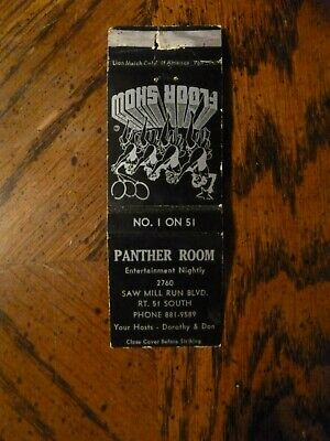 Vtg Matchbook Cover - PANTHER ROOM - FLOOR SHOW - PITTSBURGH PA - front strike