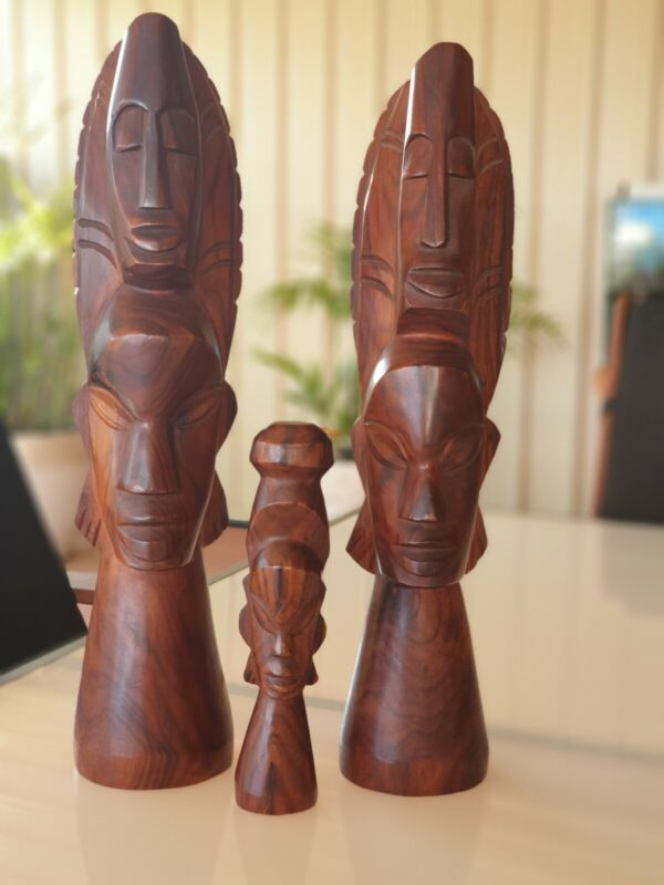 Hand Carved Wooden Family Vintage African, Thailand, Balinese? Display Piece