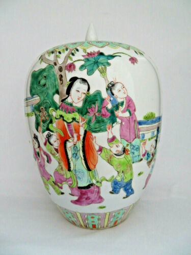 "Vintage Chinese Hand Painted Porcelain Jar w/ Lid ~ 13""  Children & Bats"