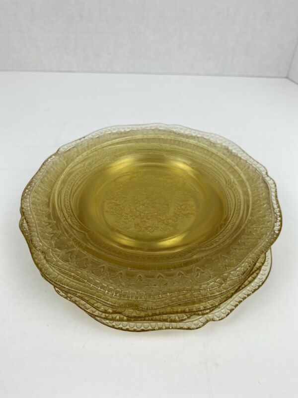 6 Vtg Federal Glass Patrician/Spoke Yellow Depression Glass Bread/Butter Plates