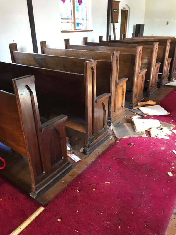 "20 Available Price Separate Antique Oak Gothic Church Pews 8'2"" Or shorter"