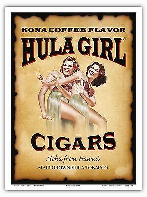 Hula Girl Cigars (Hula Girl Cigars Hawaii Kona Coffee - Vintage Hawaiian Label)