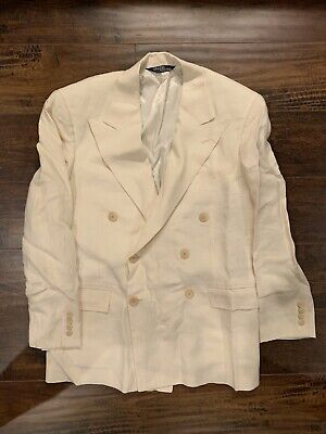 Vintage POLO RALPH LAUREN Cream White 100% Linen Double Breasted Suit USA 40R
