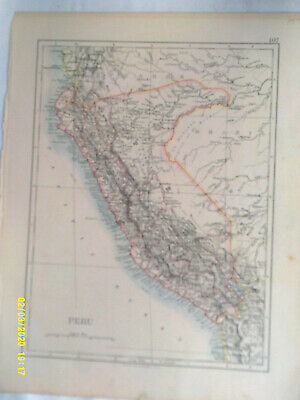 Double-sided Antique Map.  PERU  /  BOLIVIA. W & A K Johnston. 1895. VG.
