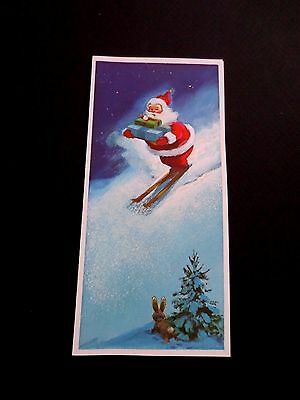 Unused Norcross Xmas Greeting Card Jolly Santa Skiing down Hill with Presents