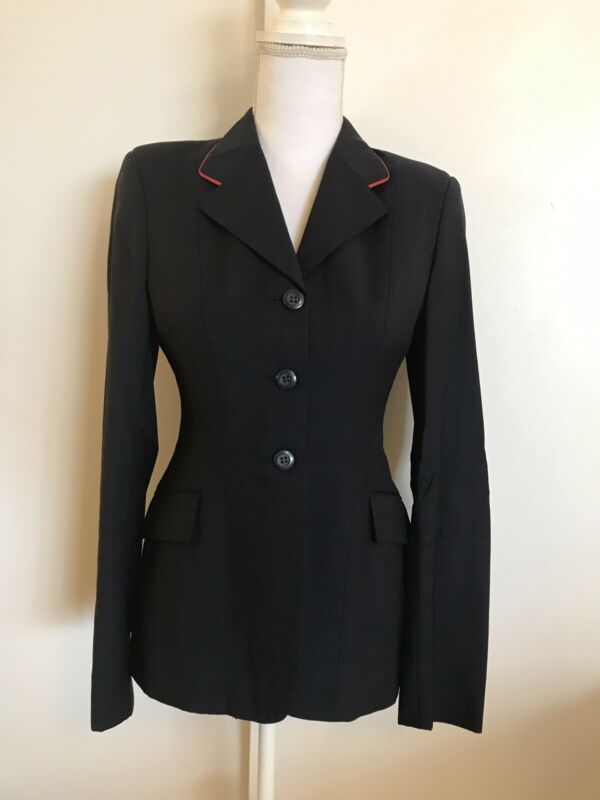 Grand Prix Navy Blue Windowpane Riding Jacket Red Piping 10R Show Coat