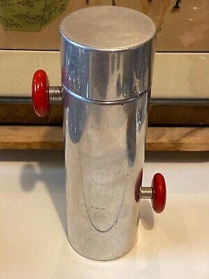 Vintage Art Deco Red Bakelite Aluminum Cocktail Shaker