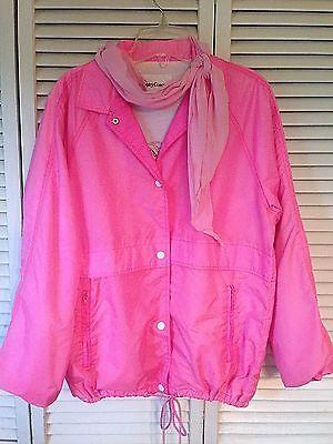 Pink Lady Ladies Jacket Windbreaker Grease Costume Coat W  Scarf  Vintage S M