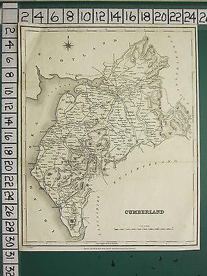 c1837 VICTORIAN MAP ~ CUMBERLAND ~ RAVENGLASS WHITEHAVEN KESWICK WIGTON