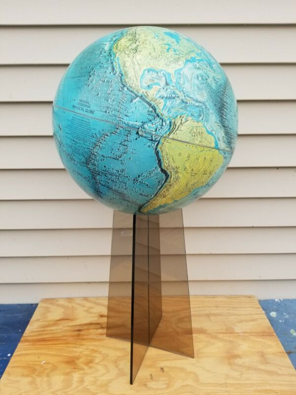 """Vintage National Geographic 1971 Physical World Globe 33"""" Tall w/ Lucite Base"""