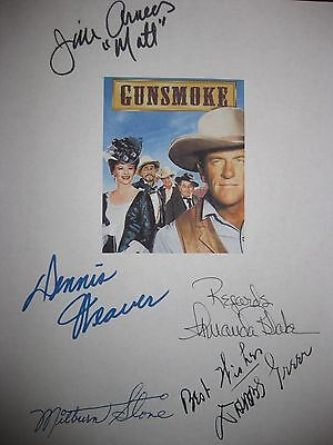 Gunsmoke Signed Script X5 Jim Arness Dennis Weaver Amanda Blake Milburn Stone rp