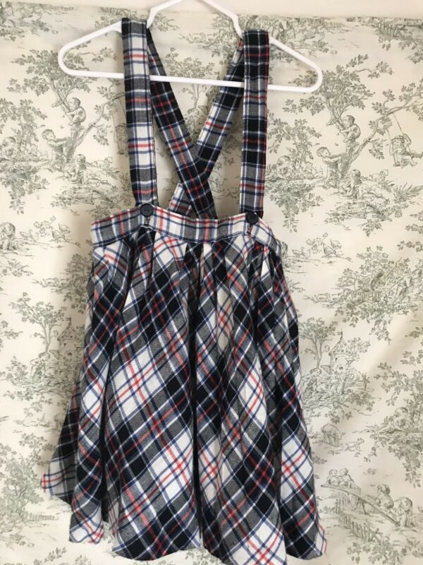 Vintage Girls Suspender Skirt Blue Plaid Sz 4 HONEYSUCKLE SEARS Preppy 80s