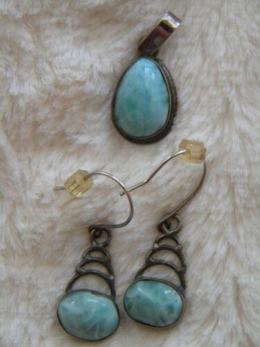 pear shape Larimer stone pendant and earring sterling silver set