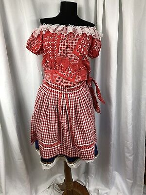 Adult Country Western Rock Square Dance Costume Dansco Top + Skirt + Apron S/M  - Country Western Costumes