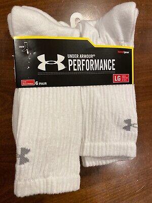 Under Armour Heatgear Performance Crew Socks White 6 Pairs Men's Size L 9-12.5