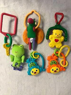 Lot Of 6 Baby Teething Toys Keys Stroller Car Seat Activity Toys
