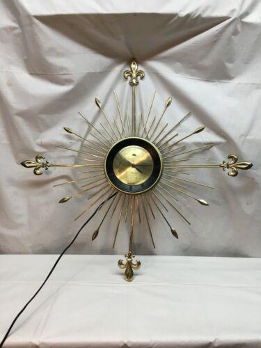 """Mid Century Modern Lux Starburst Sunburst Clock Robert Shaw 28"""" diameter Working"""