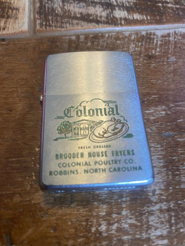 """Vintage 1960 Zippo Advertising """"Colonial Brooder House Fryers""""  Lighter"""