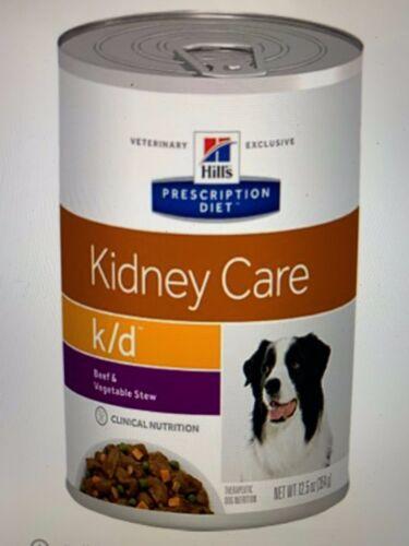 Hills Diet K/D Kidney Care Beef & Veg Stew Dog Food 12.5oz / 12cans - free ship