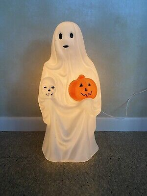 """Ghost With Skull And Pumpkin Empire Blow Mold 23"""" Tall"""