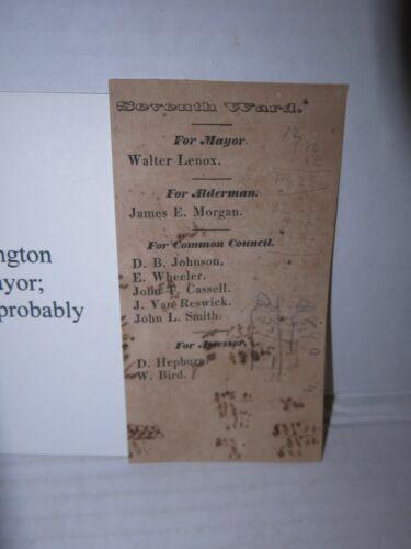 c 1850 Washington DC 7th Ward Election Ticket Walter Lenox for Mayor Rare
