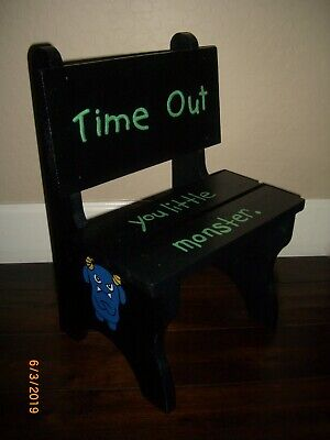 """Kids/ Child 18.5"""" H x 13"""" W Wood """"Time Out Little Monster"""" Chair or Bench"""