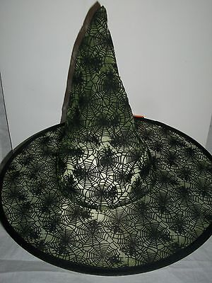 Halloween Adult Green Black Flocked Witch Hat Spider Web Witches