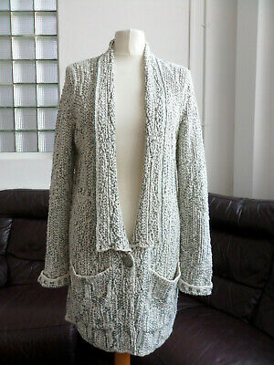 Betty & Co. 20's Style Relaxed Green & Cream Knit Cardigan Size 36/ UK 10
