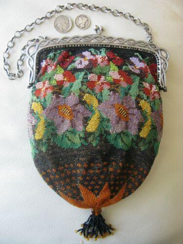 Antique Victorian Silver T Frame Crochet Green Orange Red Micro Bead Purse