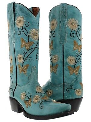 Womens Turquoise Leather Butterfly Flower Embroidery Western Cowgirl Boots (Womens Butterfly)