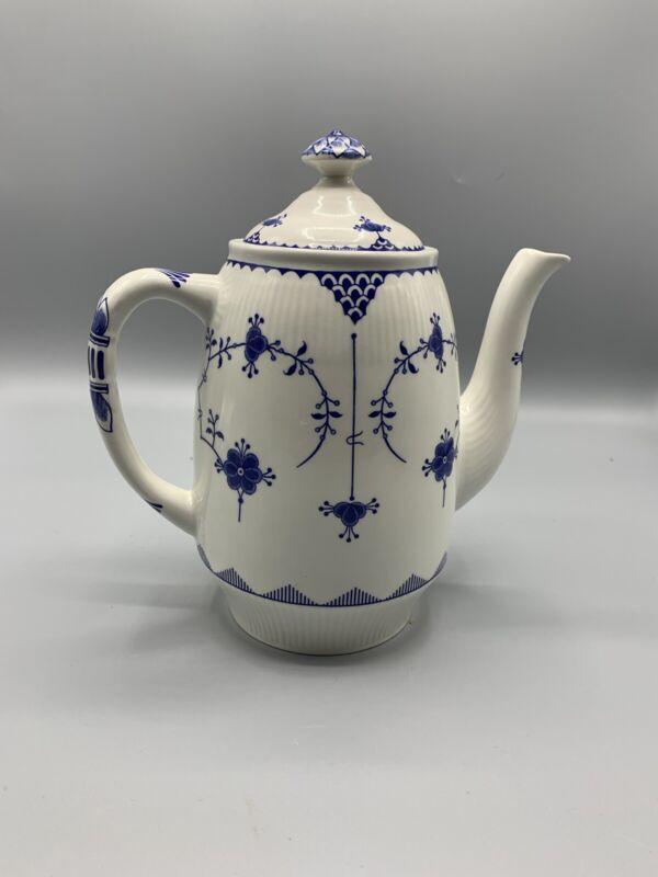 Rare!! Denmark Furnivals Blue Porcelain Teapot with Lid  England