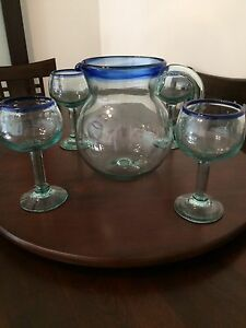 Glass jug and 4 goblets