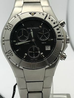 Accutron Black Bracelet - Bulova Accutron Men's Stainless Steel Case and Bracelet Black Dial Watch 26B32
