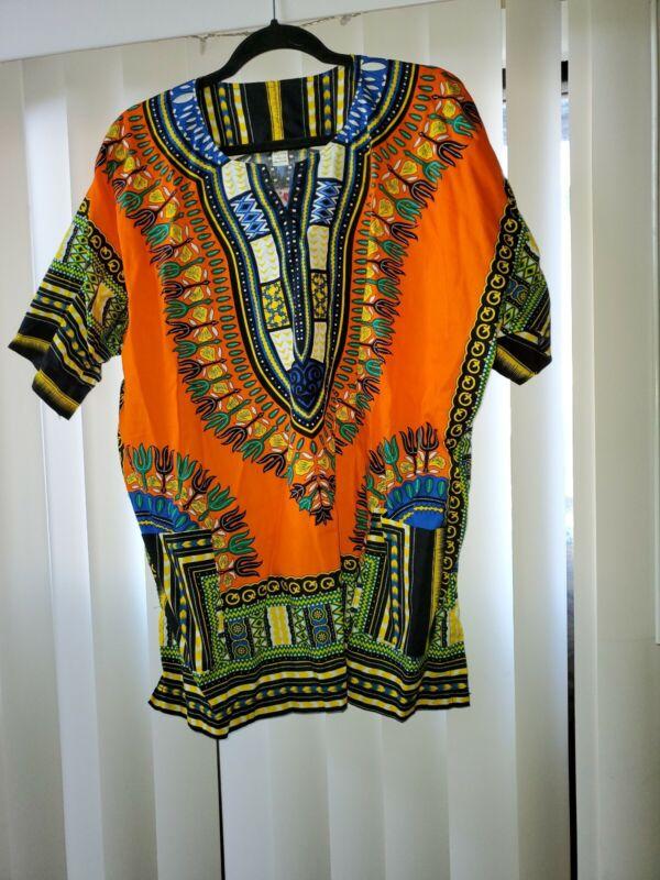 Unisex Orange Dashiki One Size W/ Pockets 100%  Cotton African Top Print