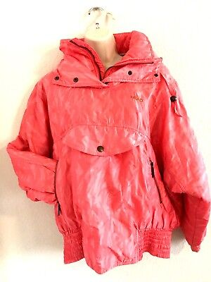 VINTAGE 1980s WOMENS BRIGHT PINK HEAD SKI SNOWBOARD PULLOVER JACKET SIZE M 1980 Womens Ski