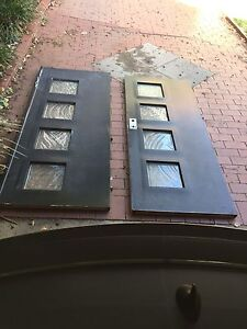 TWO SOLID EXTERIOR DOORS WITH RELIEF GLASS PANES Beaumaris Bayside Area Preview