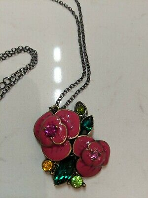 Anna Sui pink floral flower rhinestone  Beaded Chain long Necklace Anna Sui Jewellery