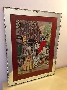TAPESTRY (OLDE ENGLISH INN SCENE) IN ANTIQUE MIRROR FRAME Double Bay Eastern Suburbs Preview