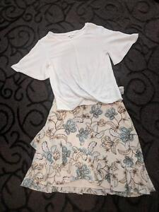 Witchery Girls Outfit Size 10 Ivory Top & Size 4 Floral Skirt Burradoo Bowral Area Preview
