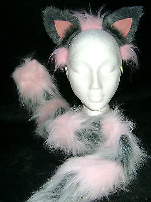 Gray Cat Ears And Tail (The Cheshire Cat Ears And Tail Fancy Dress Set Light Pink And Grey One Size)